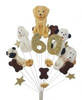 Dogs 60th birthday cake topper decoration - free postage